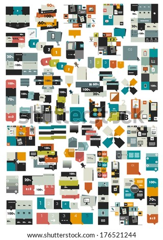 Collections of info graphics flat design diagrams. Various color schemes, boxes, speech bubbles for print or web design. Vector illustration. - stock vector