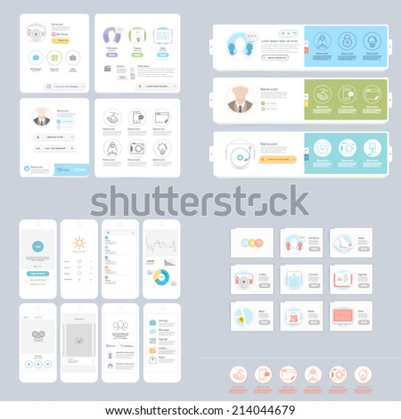 Collections Set Colorful Responsive Ui Elements Stock Vector HD ...
