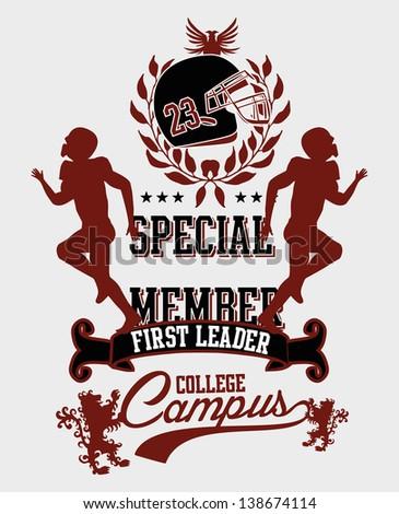 college american football vector art - stock vector
