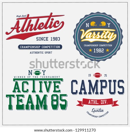College Athletics Sport Artwork For Apparel - stock vector