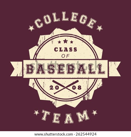 College Baseball Club vintage grunge round emblem with crossed bats, vector illustration, eps10, easy to edit