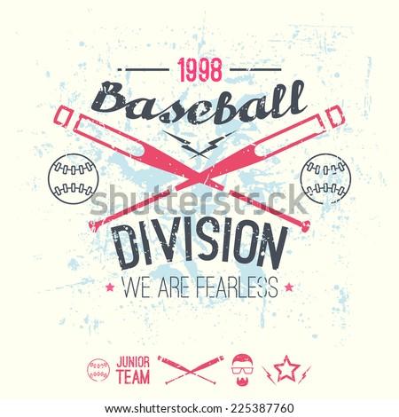 College Baseball Division Emblem Graphic Design For T Shirt Color Print On A