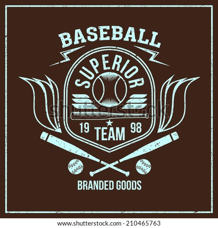 College baseball team emblem graphic design for t-shirt. Bright print on a dark background