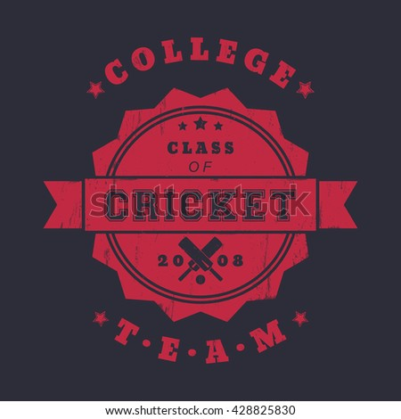 College Cricket team vintage logo, badge with crossed cricket bats, red on dark, vector illustration