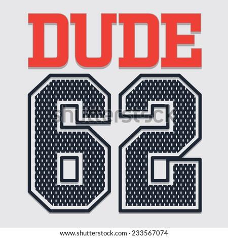 College dude typography, t-shirt graphics, vectors - stock vector