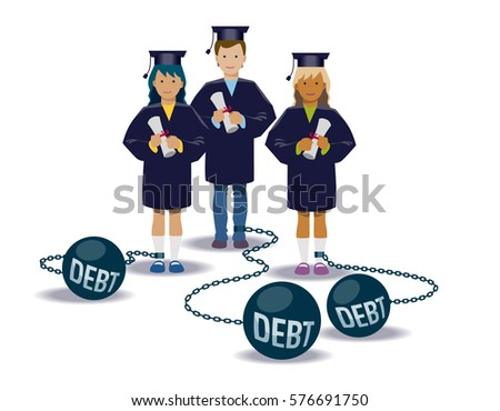 College graduates with their loans. Vector illustration .eps10