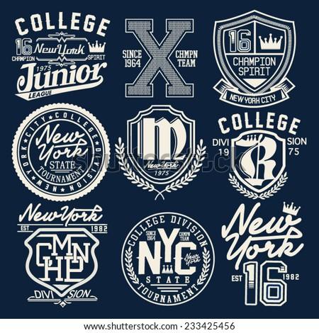 College Graphic Set Tshirt Stock Vector 233425456 ...