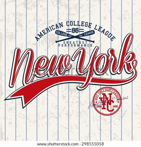 college graphics for t-shirt,baseball graphics - stock vector