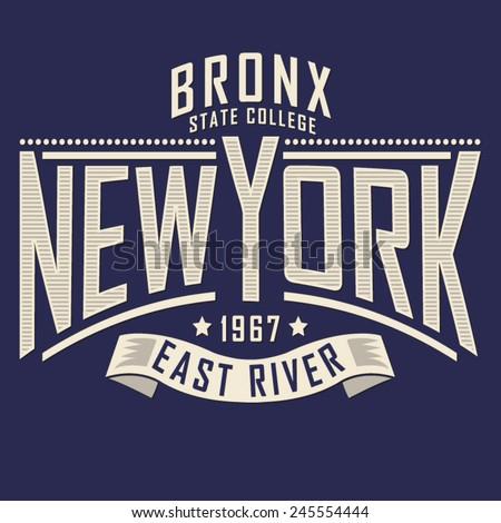 College New York typography, t-shirt graphics, vectors - stock vector