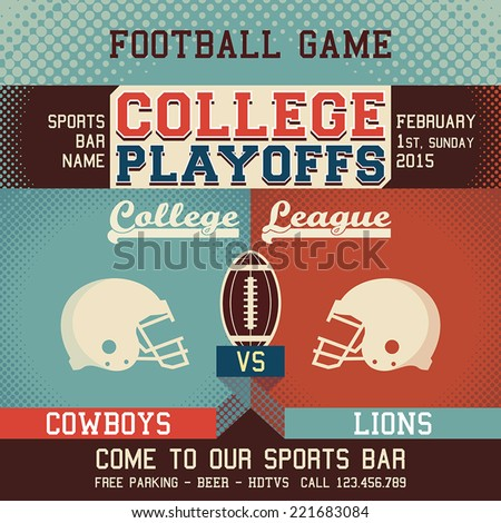College playoffs football game sports event poster - stock vector
