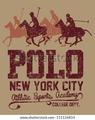 college polo player vector art - stock vector