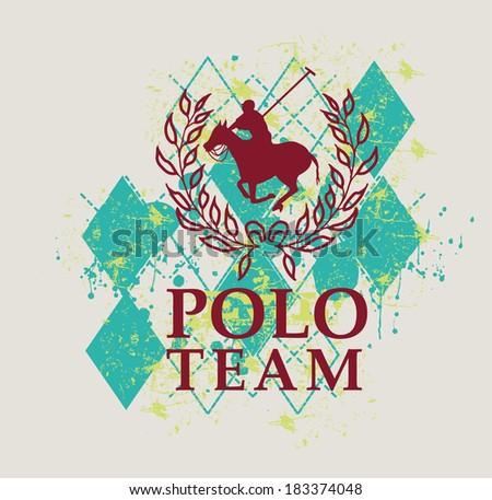 college polo player vector art - stock vector