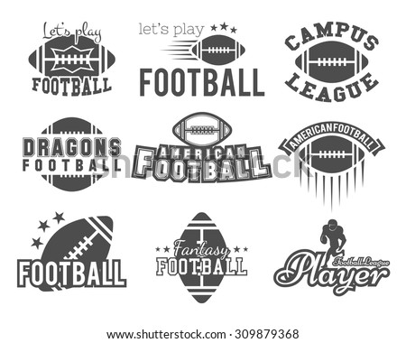 College rugby and american football team badges, football logos, labels, insignias in retro style. Graphic vintage design for t-shirt, web. Monochrome print isolated on a white background. Vector.