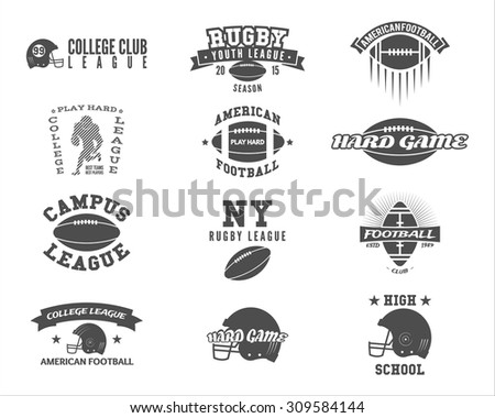 College rugby and american football team badges, logos, labels, insignias in retro style. Graphic vintage design for league tournaments, t-shirt, websites. Sports print on a white background. Vector. - stock vector