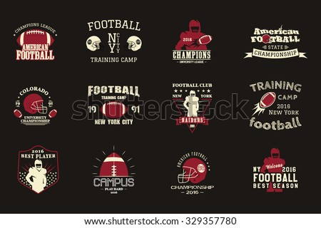 College rugby and american football team, campus, college badges, logos labels insignias in retro style Graphic vintage design for t-shirt, web. Color print isolated on a dark background. Vector. - stock vector