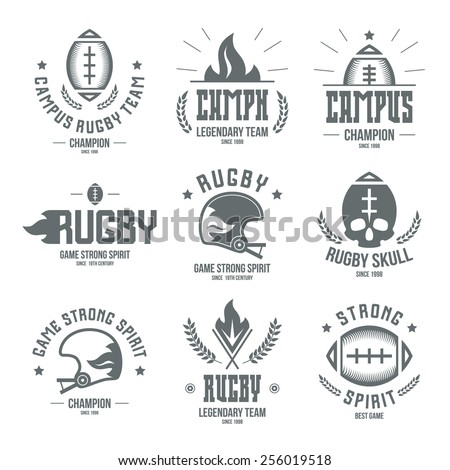 College rugby team badges in retro style. Graphic design for t-shirt. Monochrome print on a white background - stock vector