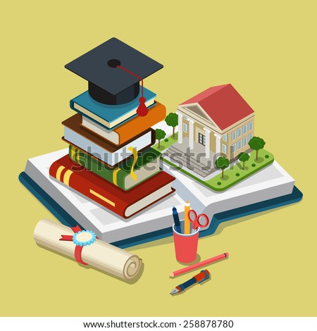 College university education graduation flat 3d web isometric infographic concept template vector. Heap of book graduate cap on top open book license stationery. Creative conceptual collection. - stock vector