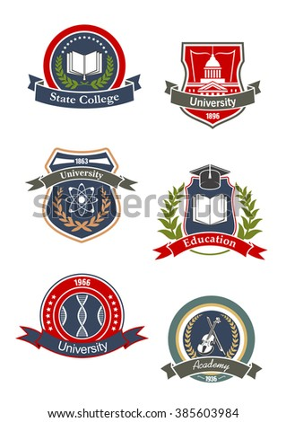 College, university, school and academy icons design with science, music, medicine and education symbols of DNA, books, atoms, violin, and library. Adorned by ribbon banners, wreaths and stars  - stock vector