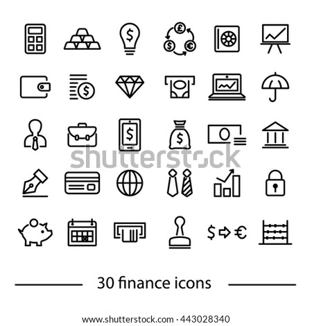 colliction of finance icons - stock vector