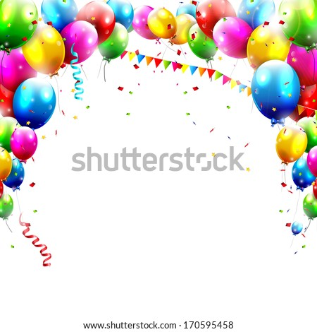 Coloful birthday balloons isolated on white background  - stock vector