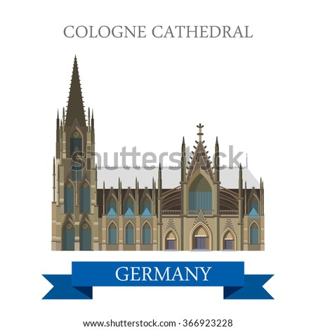 Cologne Cathedral Kolner Dom in North Rhine Westphalia Germany. Flat cartoon style historic sight web site vector illustration. World countries cities vacation travel sightseeing collection. - stock vector