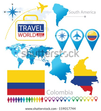 Colombia. flag. World Map. Travel vector Illustration. - stock vector