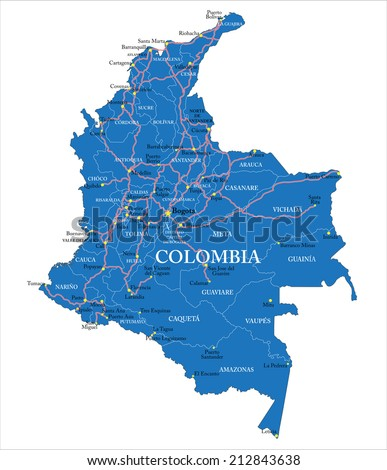 Colombia map - stock vector