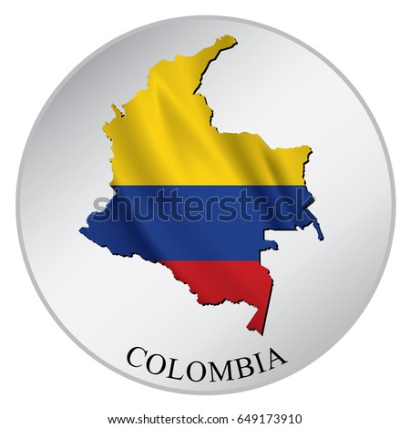 Colombia vector sticker with flag and map label round tag with country name