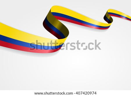 Colombian flag wavy abstract background. Vector illustration. - stock vector
