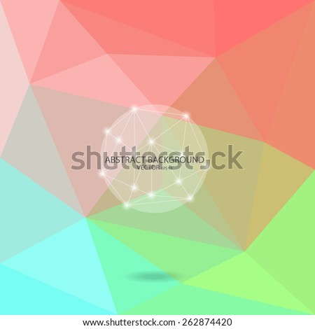 color abstract background,  low poly design, hipster concept with Crystal logo, text can be edited,texture can be used for wallpaper, pattern fills, web page background,surface textures. - stock vector