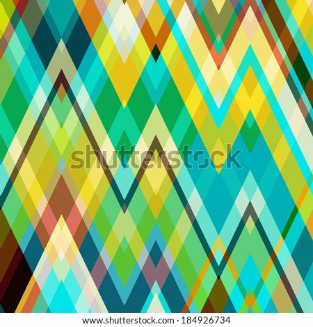 Color Abstract Retro Vector Striped Background, Fashion Zigzag Pattern of Multicolored Stripes - stock vector