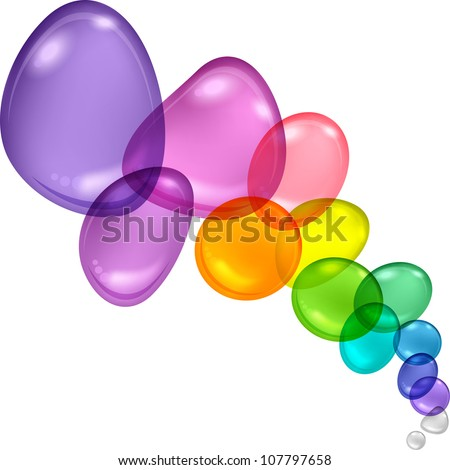 Color abstract with transparent bubbles and drops. Vector background. - stock vector