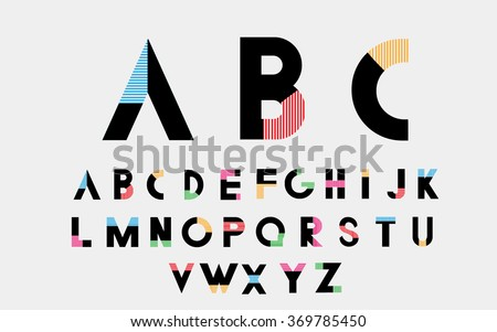 Color alphabetic font. Vector eps10 illustrator. - stock vector