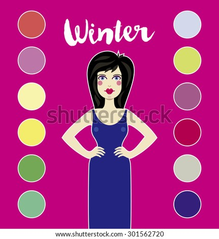 Color analysis. Summer type of female appearance. System of contrast analysis - stock vector