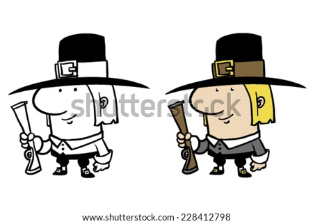 Color and BW cartoon pilgrim holding gun - Vector clip art illustration on white and on separate layers.