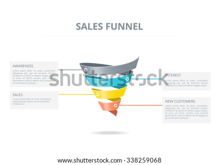 Color and volume sales funnel on white background.  - stock vector