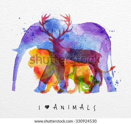 Color animals ,elephant, deer, lion, rabbit, drawing overprint on paper background lettering I love animals - stock vector