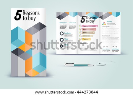 Color application booklet template design for corporate identity with statistics and infographics. Cover layout and infographics. Business stationery. - stock vector