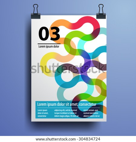 Color application poster or magazine cover template design for corporate identity with watercolor splash and circle shapes. Stationery set - stock vector