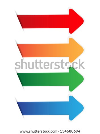Color arrow blank tag on white - stock vector