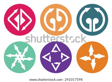 Color arrows icon set, abstract illustration for web graphics - stock vector