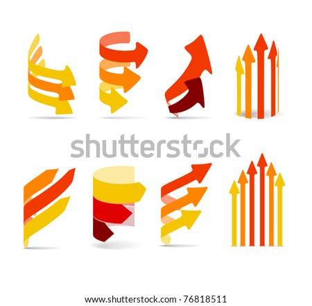 Color arrows set - stock vector