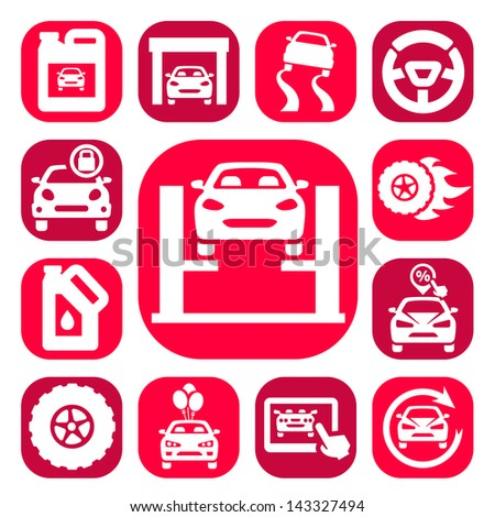 Color Auto Icons Set Created For Mobile, Web And Applications. - stock vector