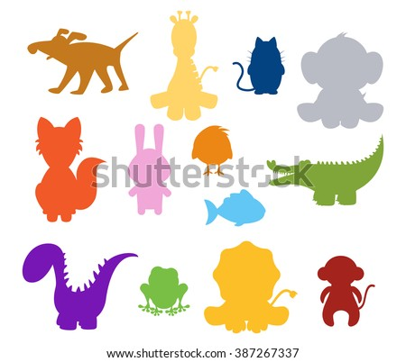 color baby silhouette animals set
