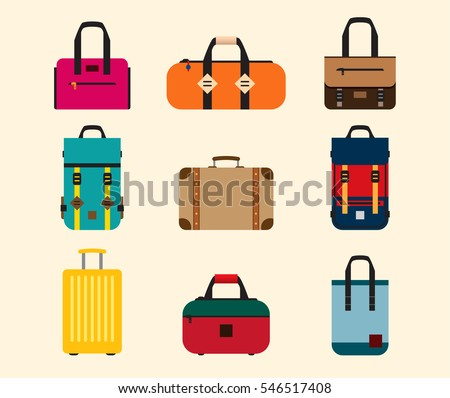 Color Bags icon vector set. Backpack, handbag, suitcase, briefcase, messenger bag.