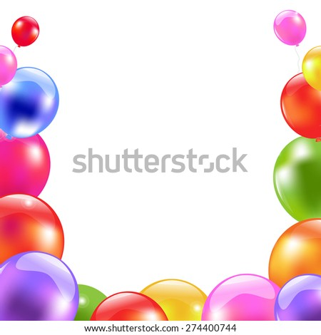 Color Balloon Border With Gradient Mesh, Vector Illustration - stock vector