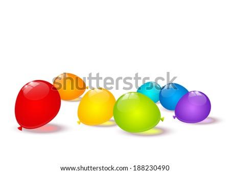 Color balloons border for Your design - stock vector