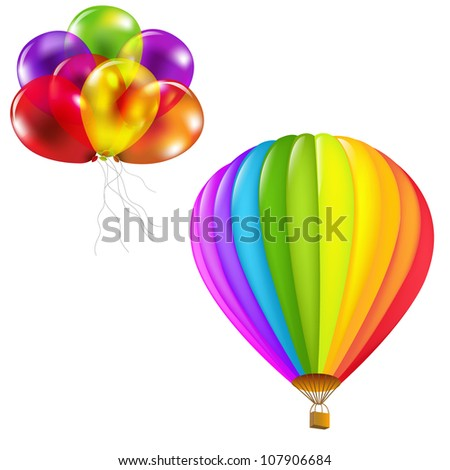 Color Balloons Set, Isolated On White Background, Vector Illustration - stock vector
