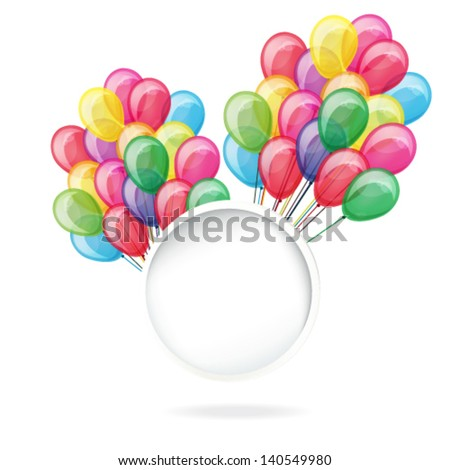color balloons with banner isolated on white - stock vector