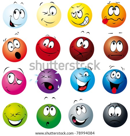 color balls with many expressions - stock vector